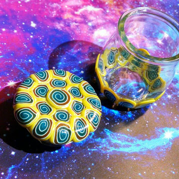 Small Decorated Stash Jar Unique Yellow Teal & Gold Swirls Pattern