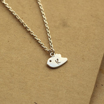 Initials Necklace, Tiny Bird Necklace, Sterling silver chain necklace