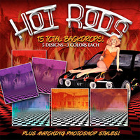 Hot Rods - Muscle Car & 50's Digital Paper Pack: Scrapbook Papers, 1950s, Photoshop Styles  - Digital Download
