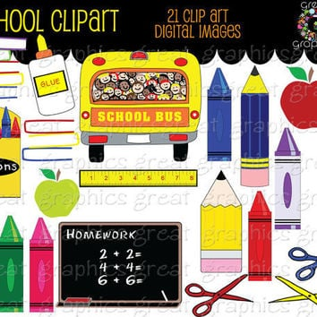 School Clip Art school digital clip art printable by GreatGraphics