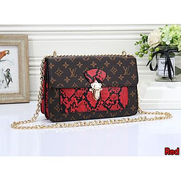 LV Louis Vuitton Newest Popular Women Leather Metal Chain Shoulder Bag Crossbody Satchel Red