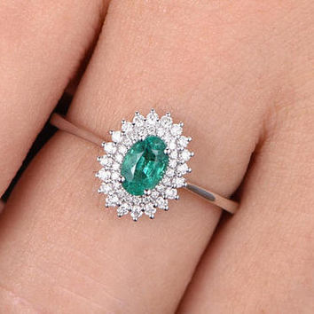 oval cut emerald engagement ring 18k white gold promise band by handmade, floral flower halo diamond wedding band,promise ring,bridal
