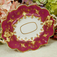 Antique English Porcelain Handled Tray Platter ~ Red ~ Maroon ~ Gold