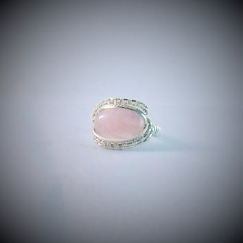 Pink Rose Quartz Stone Wire Wrap Ring 925 Sterling Silver Size 10.5 Handmade Heady Jewelry Gemstone Healing Stones Kynd Valley