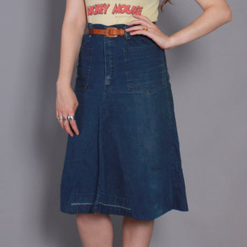 70s SAILOR JEAN SKIRT / 1970s Boho High Waisted Dark Indigo Embroidered A-Line Skirt