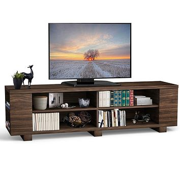 Modern TV Stand in Walnut Wood Finish - Holds up to 60-inch TV