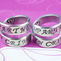 [♡012] Partners in Crime - Hand Stamped Spiral Rings Set, Friendship Rings, BFF Gift