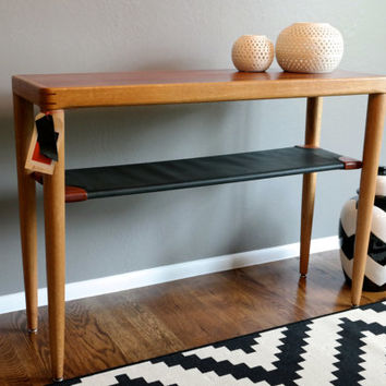 Hand Crafted Danish Modern Console Entry Table Jatoba Wood  Reclaimed Oak and Leather