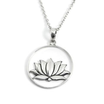 Sterling Silver Open Circle Lotus Pendant Necklace