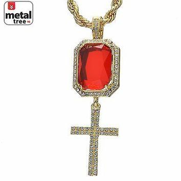 "Jewelry Kay style 14K Gold Plated Cross Red Ruby Double Pendant 24"" Rope Chain Necklace HC 309 G"