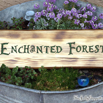 The Enchanted Forest Sign, ABC's Once Upon a Time, Fairy Tales, Carved Wood Sign, by The Jolly Geppetto