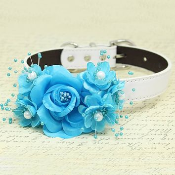 Blue Wedding Dog Collar, Rose Flowers with Pearls, Wedding Dogs Accessory