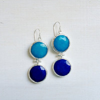 LARGE dangle long  DUAL  turquoise blue and classic blue gemstone earringssilver gemstone earrings Israel jewelry