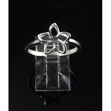 SILVER 925 HIGH POLISH SHINY HAWAIIAN PLUMERIA FLOWER OUTLINE RING 11MM SZ 3-10