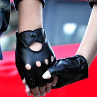 Lady PU Leather Mittens Fingerless Fad Punk Motorcycle Gloves Black