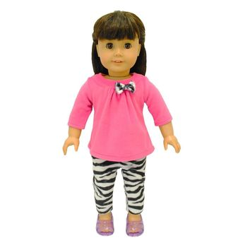 Doll Clothes Fits American Girl & Other 18 Inch Dolls Legging Zebra  Outfit