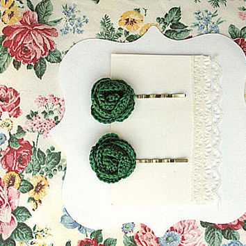 Two Forest Green Flower Bobby Pins, Hair accessories, Green hair clips, crochet flower pins. Set of Two  flower clips made by VeraJayne