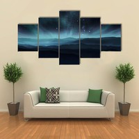 Starry Night Sky With Aurora Over Hills Multi Panel Canvas Wall Art