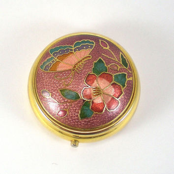 Vintage Cloisonne Pill Box Accessory With Floral And Butterfly Design.