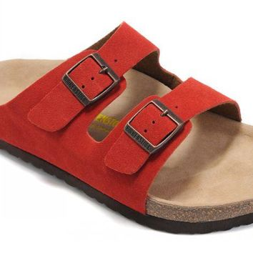 Birkenstock Arizona Sandals Suede Red - Ready Stock