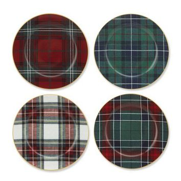 Tartan Plaid Salad Plates, Set of 4
