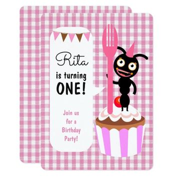 Ants and cupcakes first birthday party card