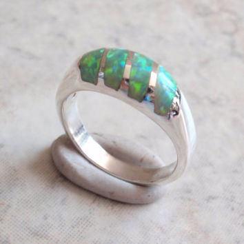 Sterling Opal Ring Silver Green Lab Created Inlaid Opal Size 7 Mexico 950 Vintage AT0200