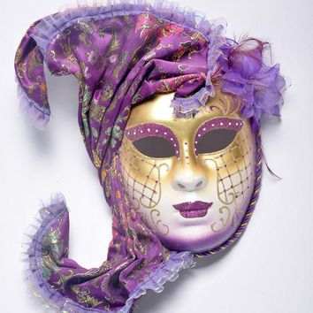 DKF4S Halloween mask masquerade Venice, antique painting flowers full face party show female mask