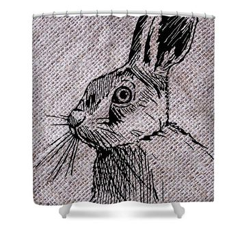 Hare On Burlap - Shower Curtain