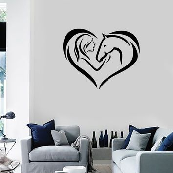 Vinyl Wall Decal Girl Horse Heart Woman Love Animal Room Decoration Art Stickers Mural (ig5421)