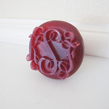 Custom 3d Printed Wedding Monogram Initials door cabinet closet dresser drawer knob pull handle design decor initial 3-D art Print Geekery