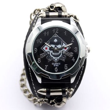 New Punk Rock Skull Cool Black Leather Band Bracelet Quartz Wrist Watch Men Gift