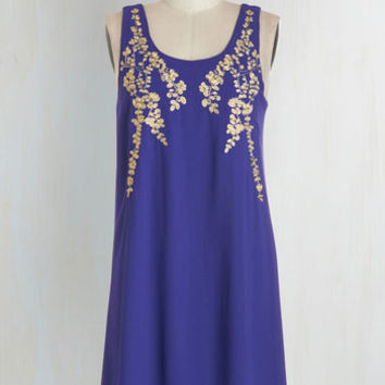 Mid-length Sleeveless Shift Everything Exquisite Dress in Indigo