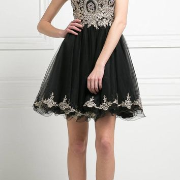 Bateau Neck Black Embroidered Homecoming Short Dress Tulle