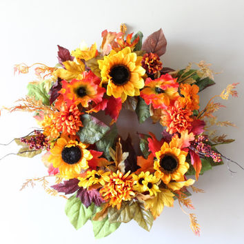 Fall Wreath, Sunflower Wreath, Thanksgiving Wreath