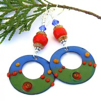 Boho Hoop Earrings, Enamel Blue Green Red Yellow Handmade Jewelry