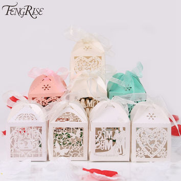FENGRISE 50pcs Mr Mrs Wedding Candy Box Sweets Gift Favor Boxes With Ribbon Party Decoration Wedding Gifts For Guests Favors