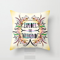 Quote Pillow. Decorative Adventure Weekend Pillow Cover. 18 inch. Double sided