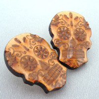 Candy skull big stud earrings / laser cut dia de los muertos day of the dead earrings