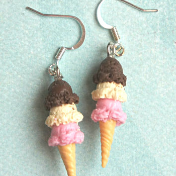 Neapolitan Ice Cream Dangle Earrings