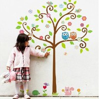 Amazon.com: Owl and Color Tree Wall Sticker Decal for Baby Nursery Kids Room: Baby