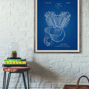 Harley Davidson Engine Printable, Engine Patent, Gift for Him, Boys Room Poster, Patent Blueprint, Chalkboard Patent, Vintage Patent, 24x30