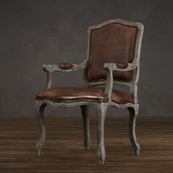 Vintage French Camelback Leather Armchair | Dining Chairs | Restoration Hardware