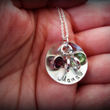Grandmother Necklace-Personalized Mamaw Necklace-Birthstone Necklace-Grandmother Jewelry-Grandmother's Necklace