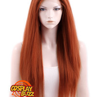 "18"" / 24"" / 28"" Long Straight Yaki Reddish Orange Customizable Lace Front Synthetic Hair Wig LF624 - CosplayBuzz"