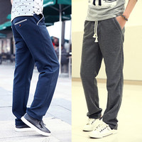 Houndstooth Trim Men Casual Sweat Pants