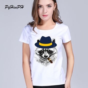 New Arrivals 2017 Fashion Raccoon Printed T Shirt Summer women Racoon Hipster Cool Animal Short Sleeve Tops Tee Femme women tops