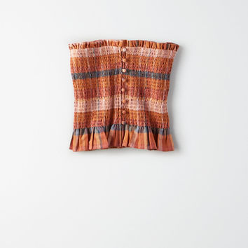 AE Plaid Smocked Tube Top, Multi