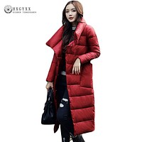 2017 Warm Long Down Cotton Coat Women Winter Quilted Puffer Jacket Plus Size Slim New Turn-down Collar Outerwear Clothing AA394