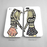 Best Friend Forever Decorative Design Couples Phone Case iPhone 4/4S, 5/5S, 5C Series - Hard Plastic, Rubber Case
